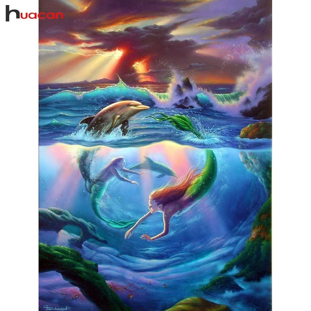 Detail Feedback Questions about HUACAN Mermaid Diamond Painting Cross  Stitch 5D DIY Diamond Embroidery Animals Full Drill Mosaic Decoration Home  Gifts on ... 86828bd85a5f