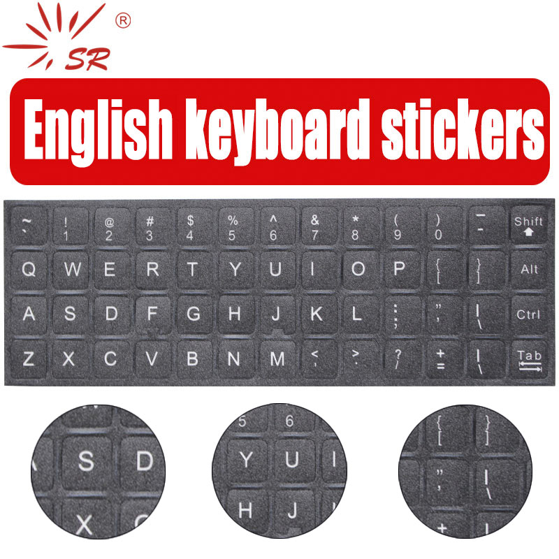 SR 2 Colors English Language Standard Waterproof Keyboard Stickers Layout Button Normal Letters Alphabet For Computer Laptop