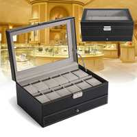 2 in 1 12 Grid PU Leather Display Case Watches Holder Storage Box Jewelry Glass Organizer Boxes for Jewelry Watch Accessories