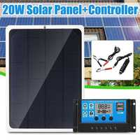 Новый 20 Вт 12 в солнечные панели из кремня с Автомобильное зарядное устройство крокодил зажим + 10/20/30/40/50A USB Солнечное зарядное устройство кон...