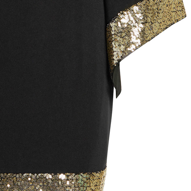 Plus Size Sequins Flare Sleeve Dress