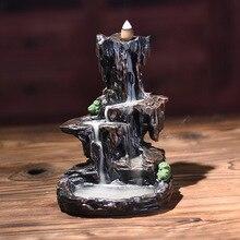 1 pieza nueva resina forma de montaña humo cascada Backflow incienso quemador Censer soporte decoración alta calidad adecuado para teahouse