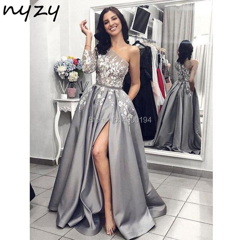 NYZY P17 One manches longues robe en Satin de bal Sexy transparent haute fente jambe coupe gris dentelle formelle robe élégante robe vestido 2019 - 2