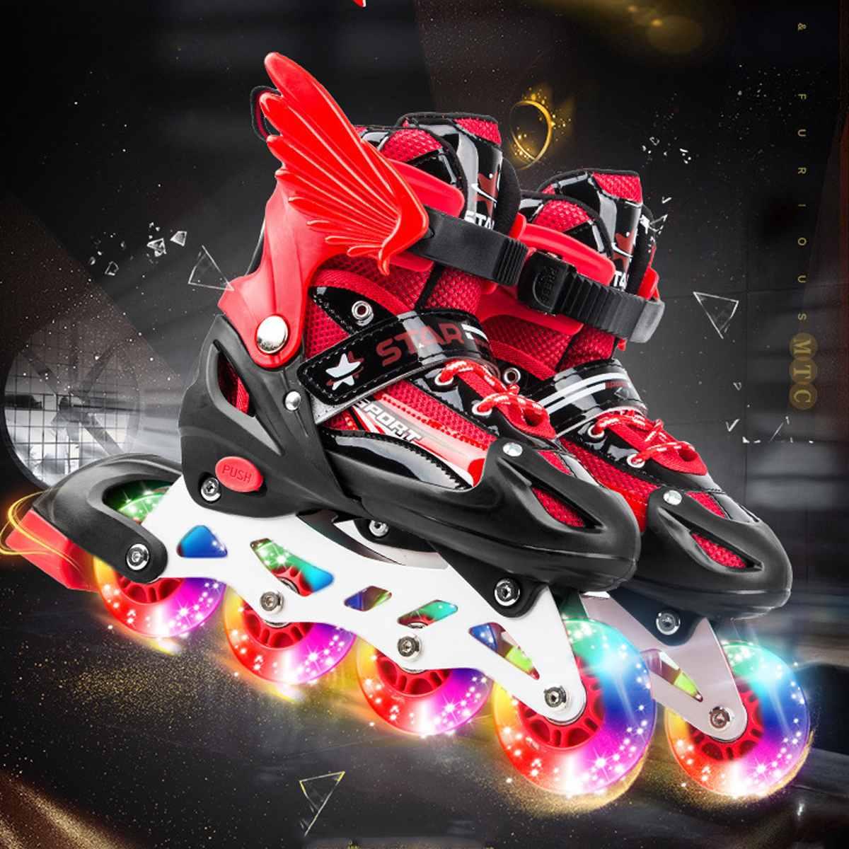 Enfants enfants patins à roulettes 4 roues chaussures de patinage glisse Slalom patins à roues alignées lames rollerblade enfants cadeaux