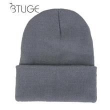 26db98ea15564f BTLIGE Beanie Plain Knit Ski Hat Skull Cap Cuff Warm Winter Blank Colors  Unisex For Women