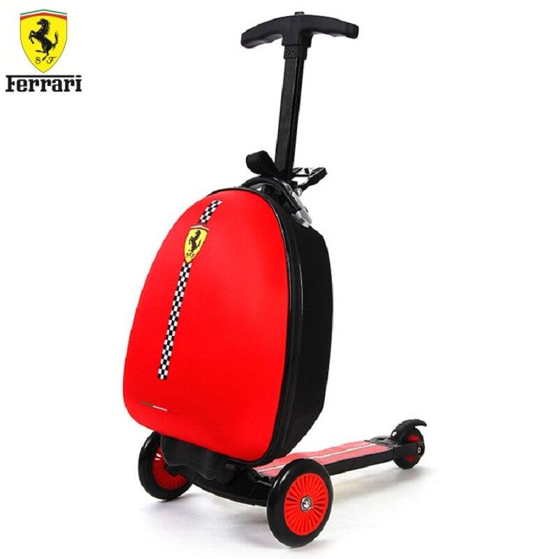 Ferrari FXA45 pliable Scooter réglable en hauteur tige serrure enfants voyage Scooter planche à roulettes avec sac à bagages Sport jouet pour enfants