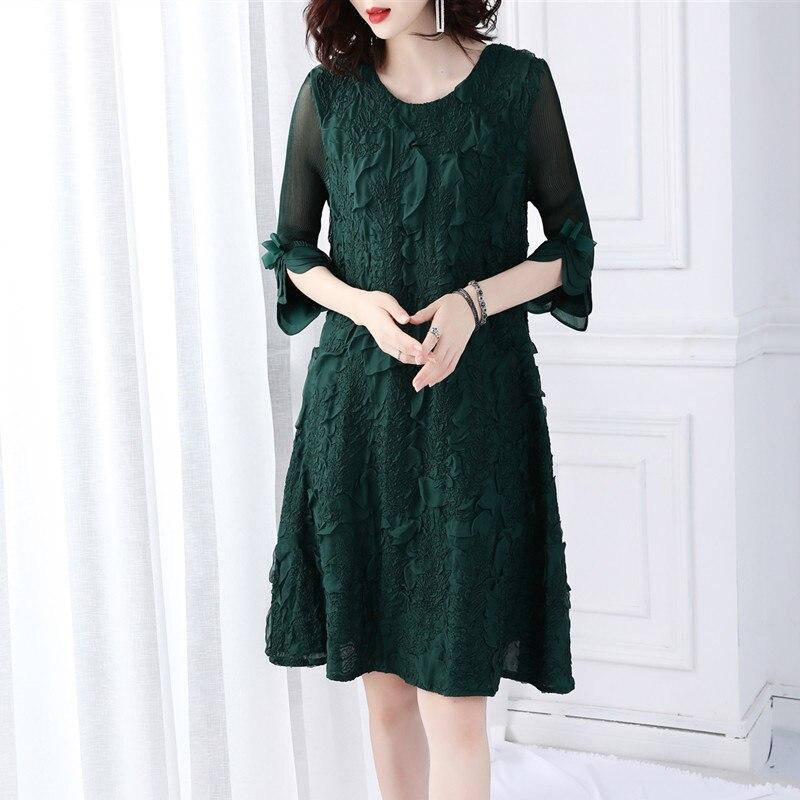 Haute qualité printemps robe femmes 2019 mode pétale manches lâche tenue décontractée femmes vêtements vert robe Dames Jurken Vestido