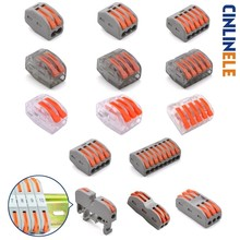 WAGO Mini Fast Universal Compact Wire Wiring Car Connector Conductor Terminal Block 222-412 222-413 222-415 PCT212 213 215 221 10pcs lot wago mini fast wire connector 222 413 pct213 universal compact wiring connector 3 pin conductor terminal block