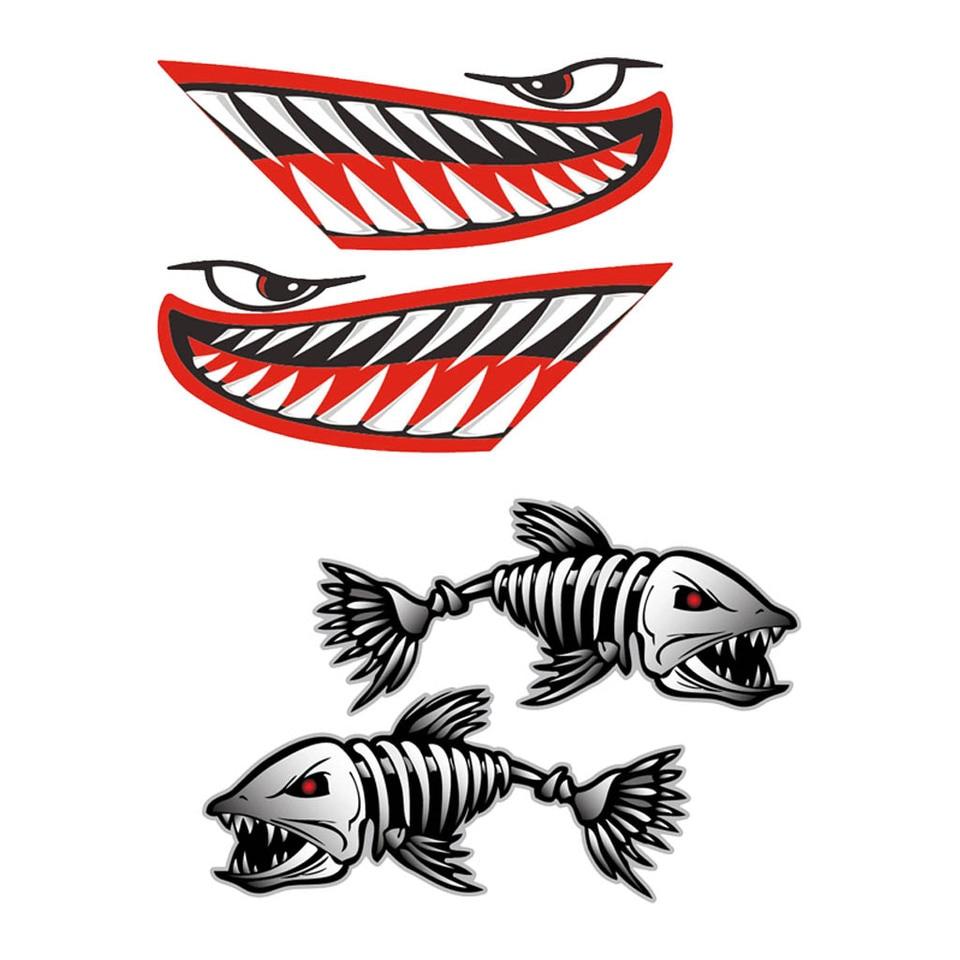 4Pcs Kayak Sticker Decal Fish Bone Decal DIY Fishing Boat Window Graphics