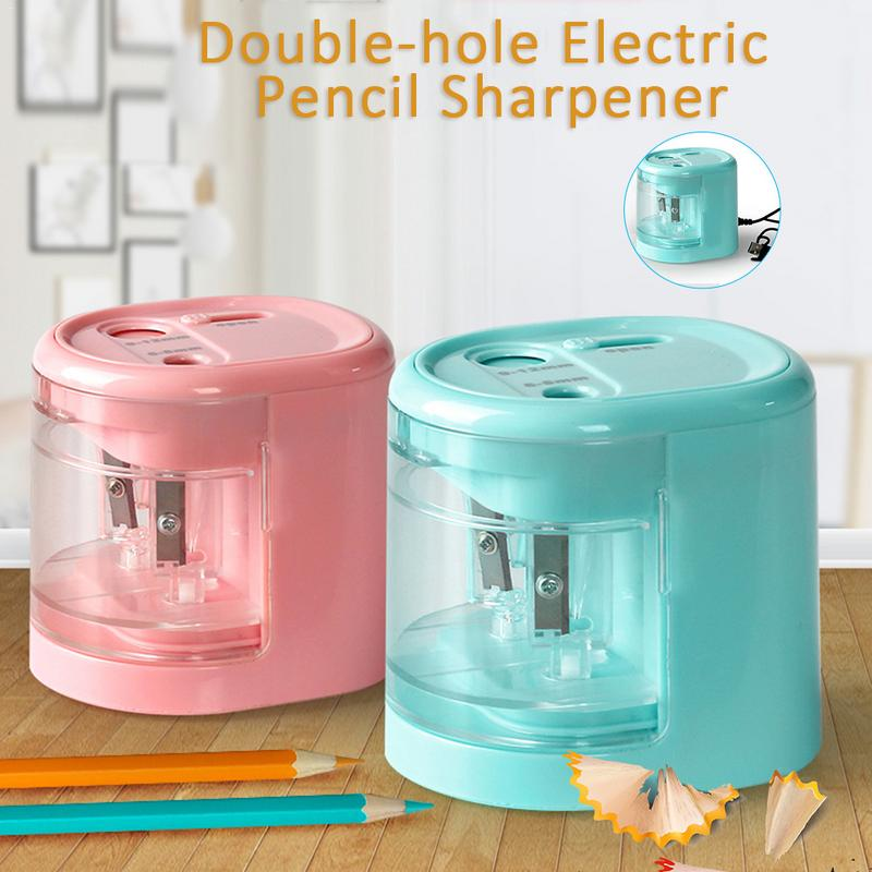 Electric Pencil Sharpener Innovative Automatic Smart Double Hole Primary School Stationery Pencil Sharpener Office PencilElectric Pencil Sharpener Innovative Automatic Smart Double Hole Primary School Stationery Pencil Sharpener Office Pencil