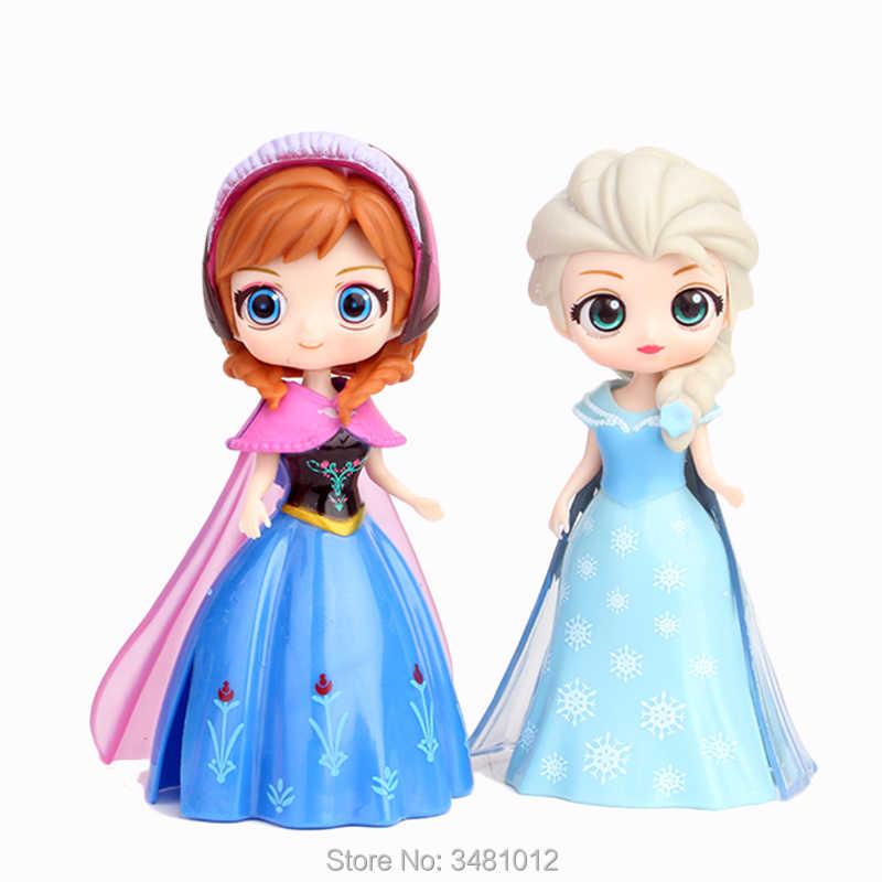 Magiclip Elsa Anna Tiana Sofia Amber Magic Clip Dress PVC Action Figures  Aurora Princess Dolls Anime Figurines Kids Toys Gift
