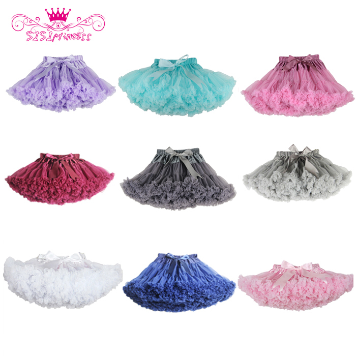 Free Shipping Fluffy Chiffon Pettiskirts Baby 21 Colors tutu skirts girls Princess Dance Party Tulle Skirt  petticoat wholesale