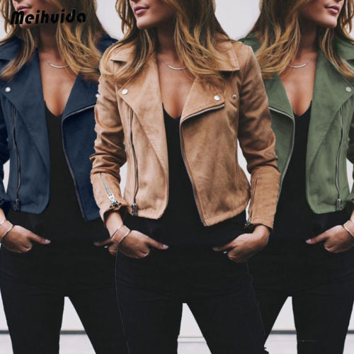 2019 NEW Fashion Autumn Women Ladies Flannel Jacket Flight   Coat   Zip Up Biker Motorcycle Tops Clothes Female Jacket Clothing Sets