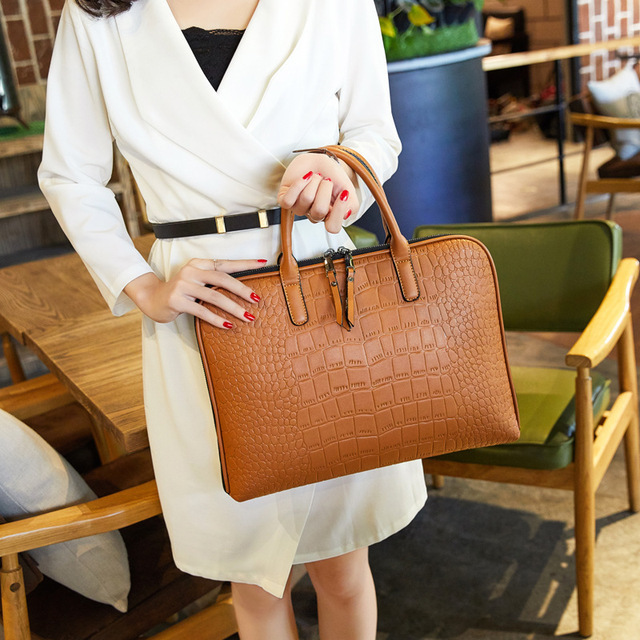 Business Women Briefcase Leather Handbag Woman Casual Totes 13.3 14 Inch Laptop bag Shoulder Office Bags For Ladies Briefcases