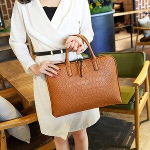 Image 1 - رجال الأعمال حقيبة جلدية حقيبة يد امرأة عادية Totes14.1 15.6 بوصة حقيبة لابتوب حقائب مكتبية الكتف للسيدات حقائب
