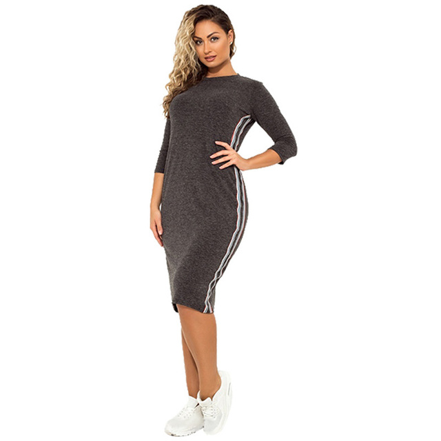 7063a92748b43e New Autumn Winter Plus Size Women Elegant Dress Fashion Sports Casual Dress  Solid Color Side Stripes