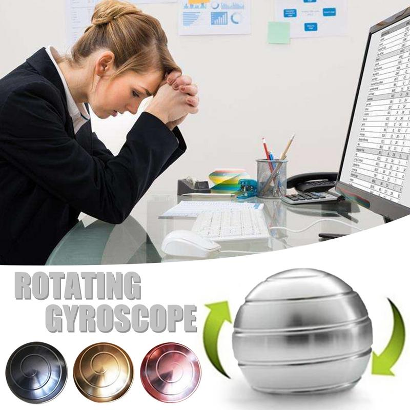 Desktop Decompression Rotating Metal Gyro Optical Illusion Flowing Finger Spherical Gyroscope Desk Toy Toy For Adult
