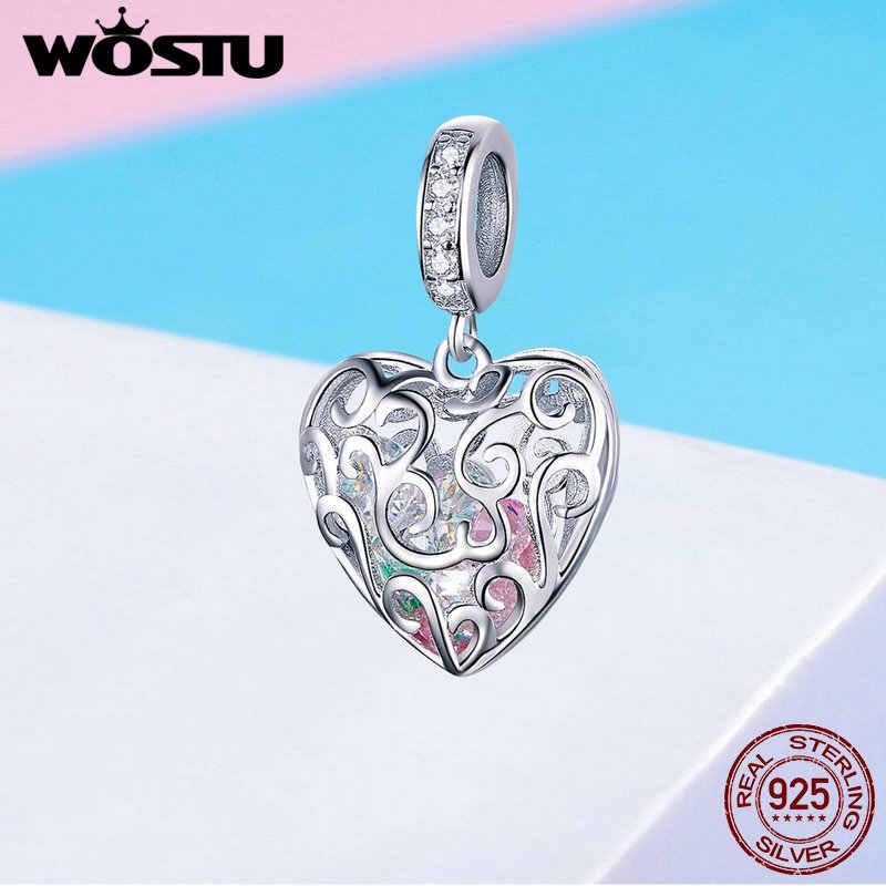 WOSTU 925 Серебряное сердце, для влюбленных счастливый Шарм циркониевые бусы подходят оригинальный браслет подвеска Подвески для изготовления ювелирных изделий CQC1126