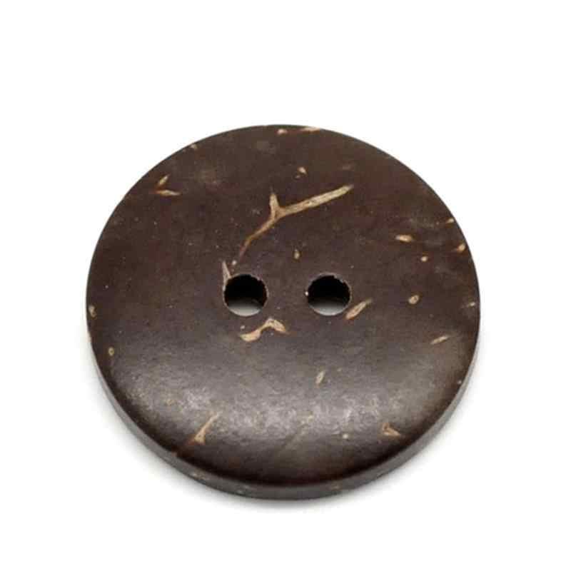 70 adet/takım ahşap düğmeler dikiş aksesuarları kahverengi hindistan cevizi kabuğu 2 delik dikiş düğmeleri Scrapbooking 20mm