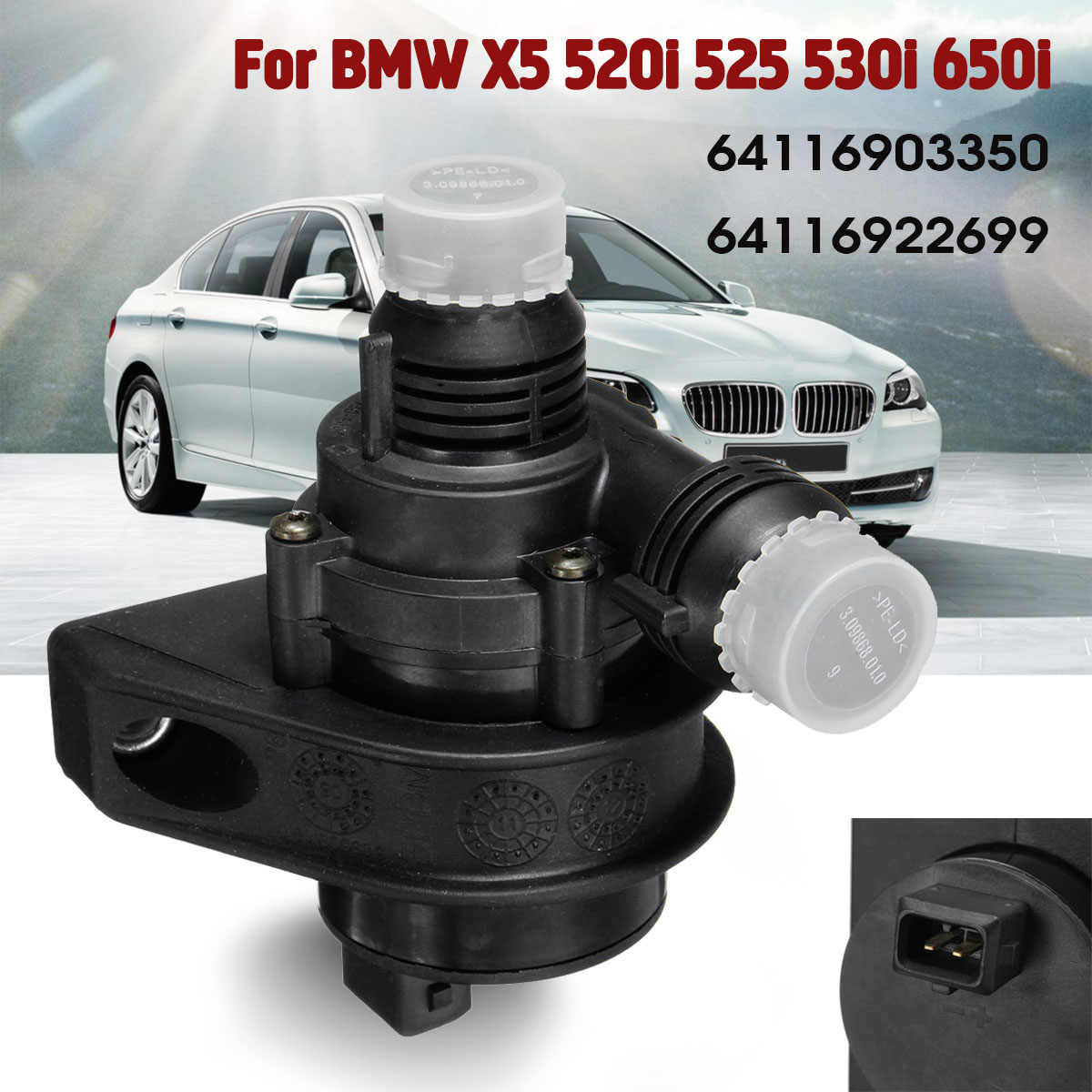 Car Engine Cooling Electric Additional Auxiliary Water Pump For BMW 5 6  Series X5 E53 E64 E60 64116903350 64116922699