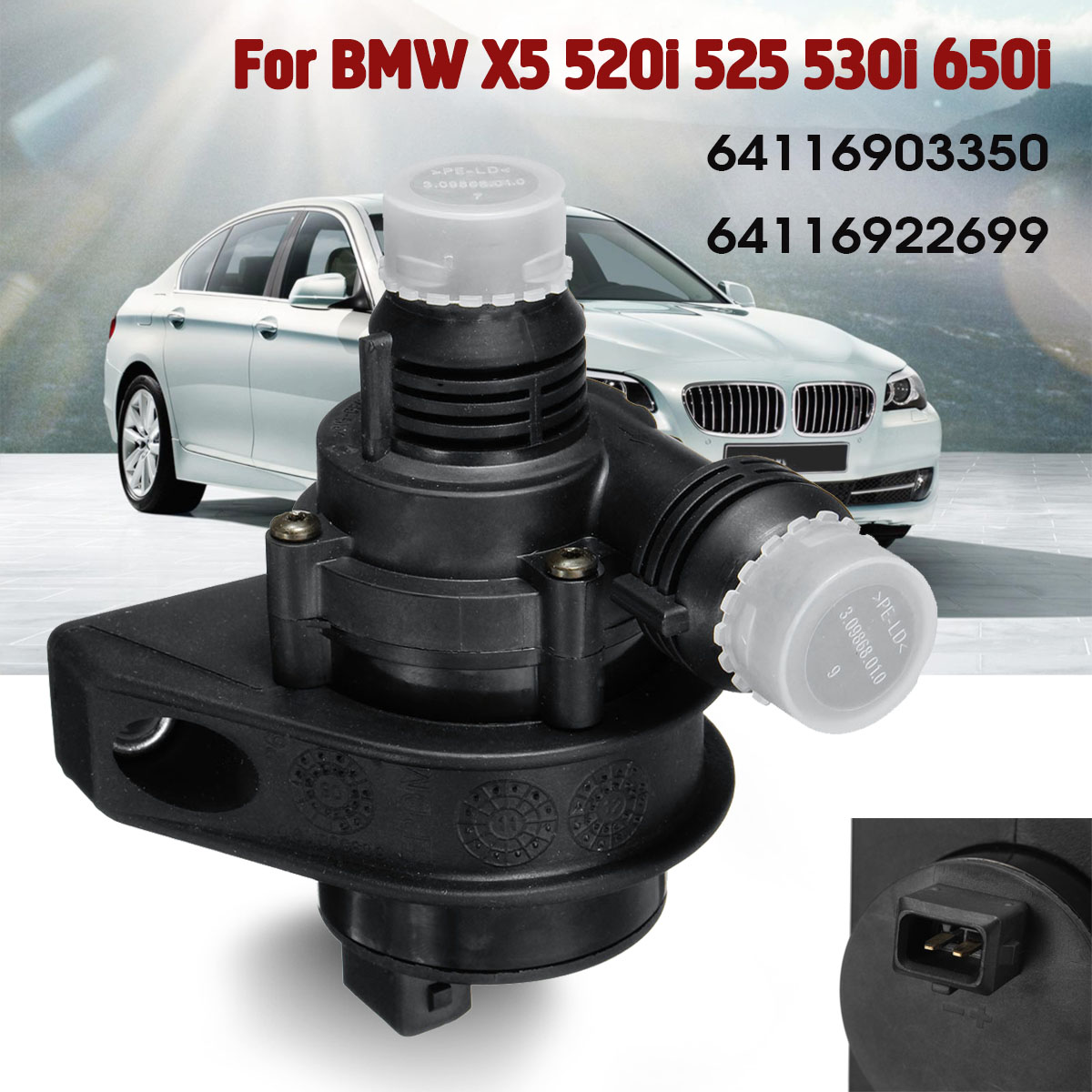 Охлаждения двигателя автомобиля Электрический дополнительные вспомогательный водяной насос для BMW 5 6 серии X5 E53 E64 E60 64116903350 64116922699
