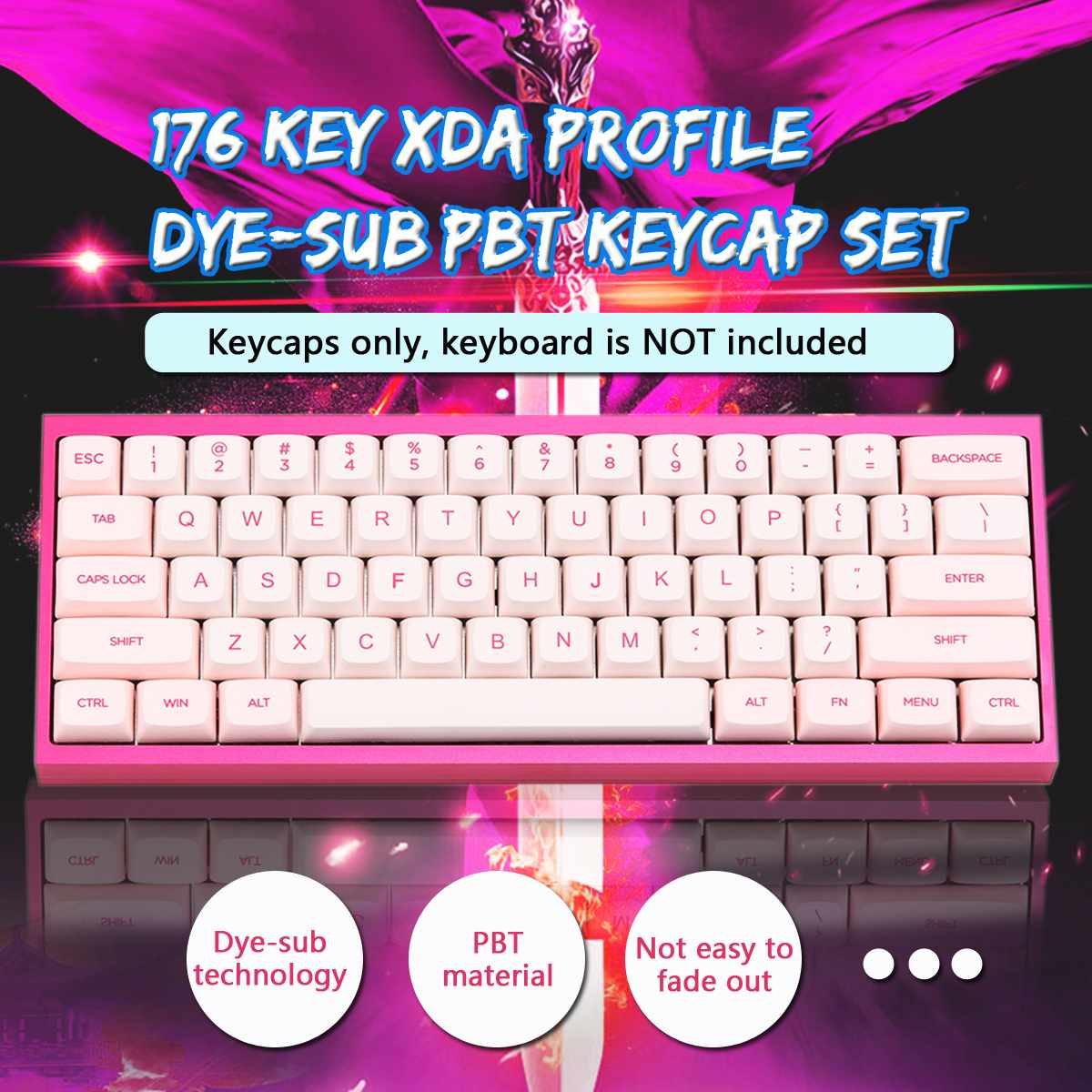 Gaming Keyboard Keycap Pink 176 Key Xda Profile Dye-sub Pbt Keycaps Full Layout Keycap Set Cute Keycaps