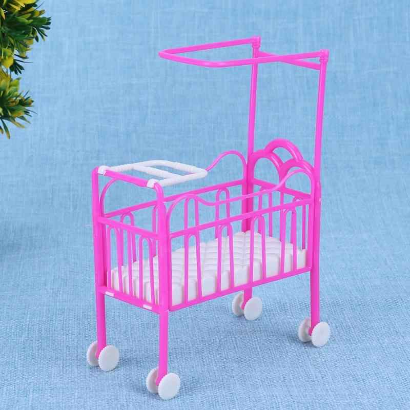 Розовая кроватка кровать с балдахин кукла аксессуары Милая кроватка девушки кукольный дом мебель куклы Детская игрушка, подарок Забавный милый