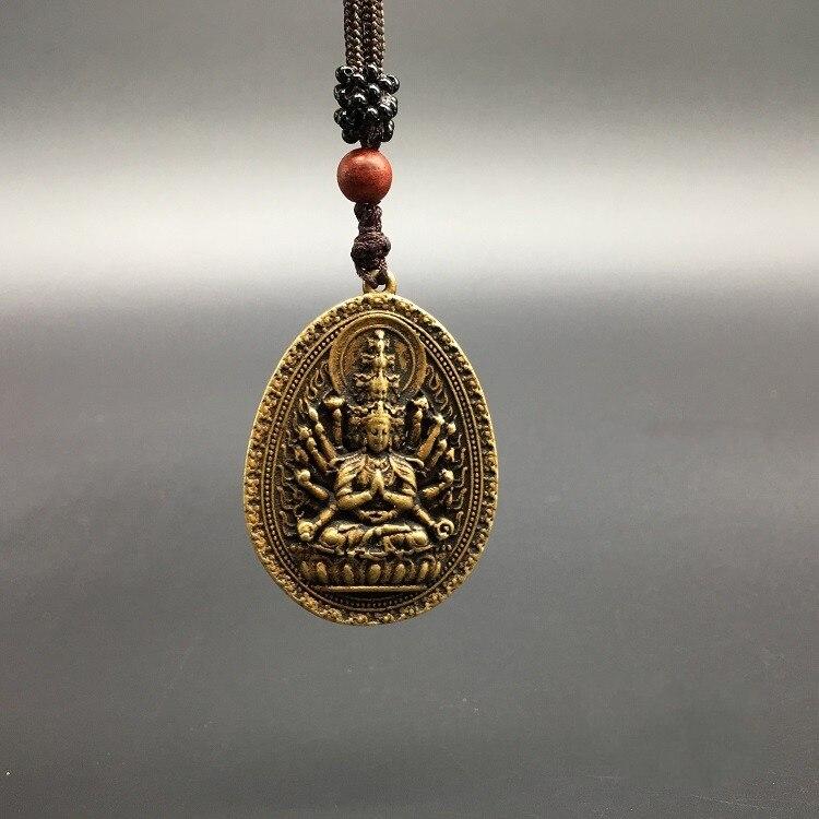 Коллекционные китайские латунные Резные тысячи рук Bodhisattva Guan Yin Kwan-yin Bodhisattva изысканный маленький кулон статуи