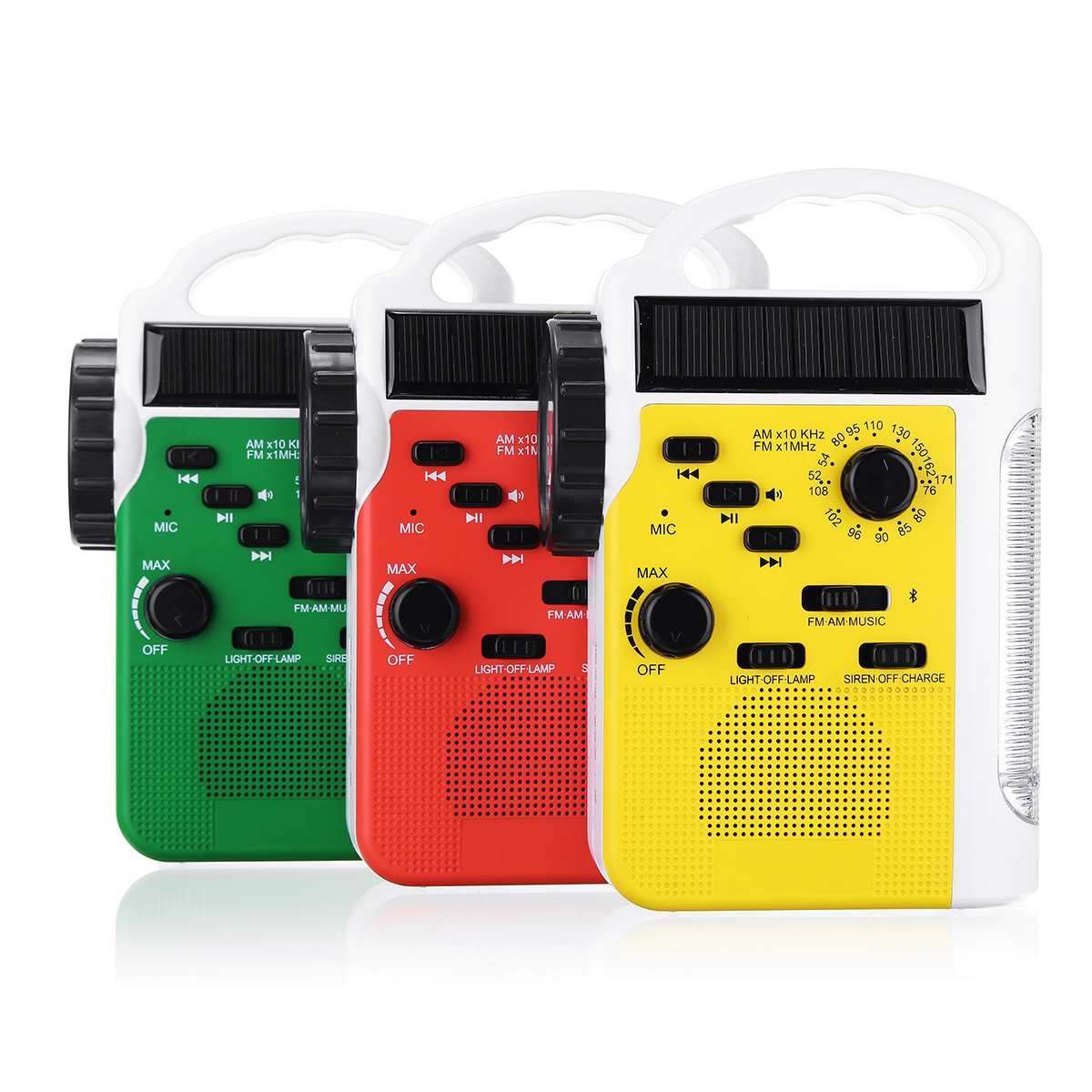 Portable 6 dans 1 AM/FM Bluetooth manivelle solaire Radio Avec Haut-Parleur Mobile alimentation Soutien SD Carte lampe de poche led Radios