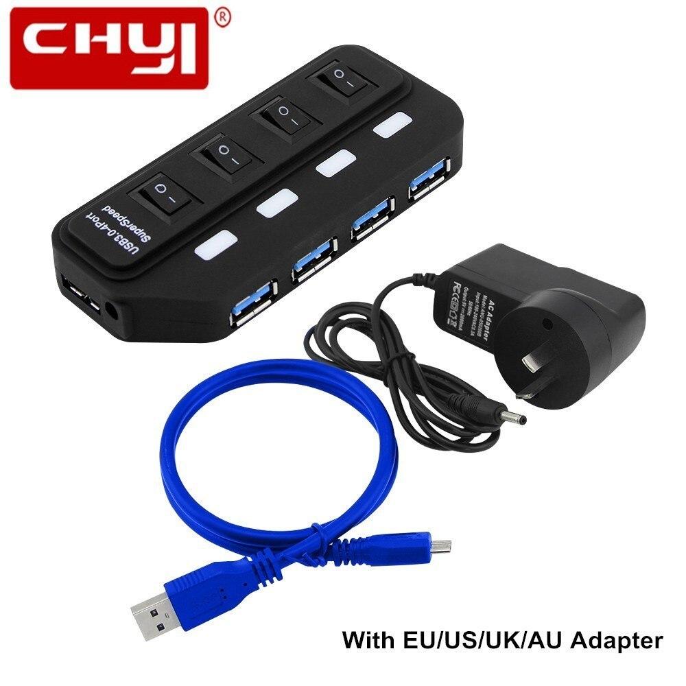 4 Port USB Hub Super Speed USB 3.0 Hub LED Individual On/Off Switches USB Data Cable EU/US/UK/AU Plug Power Adapter for Laptop