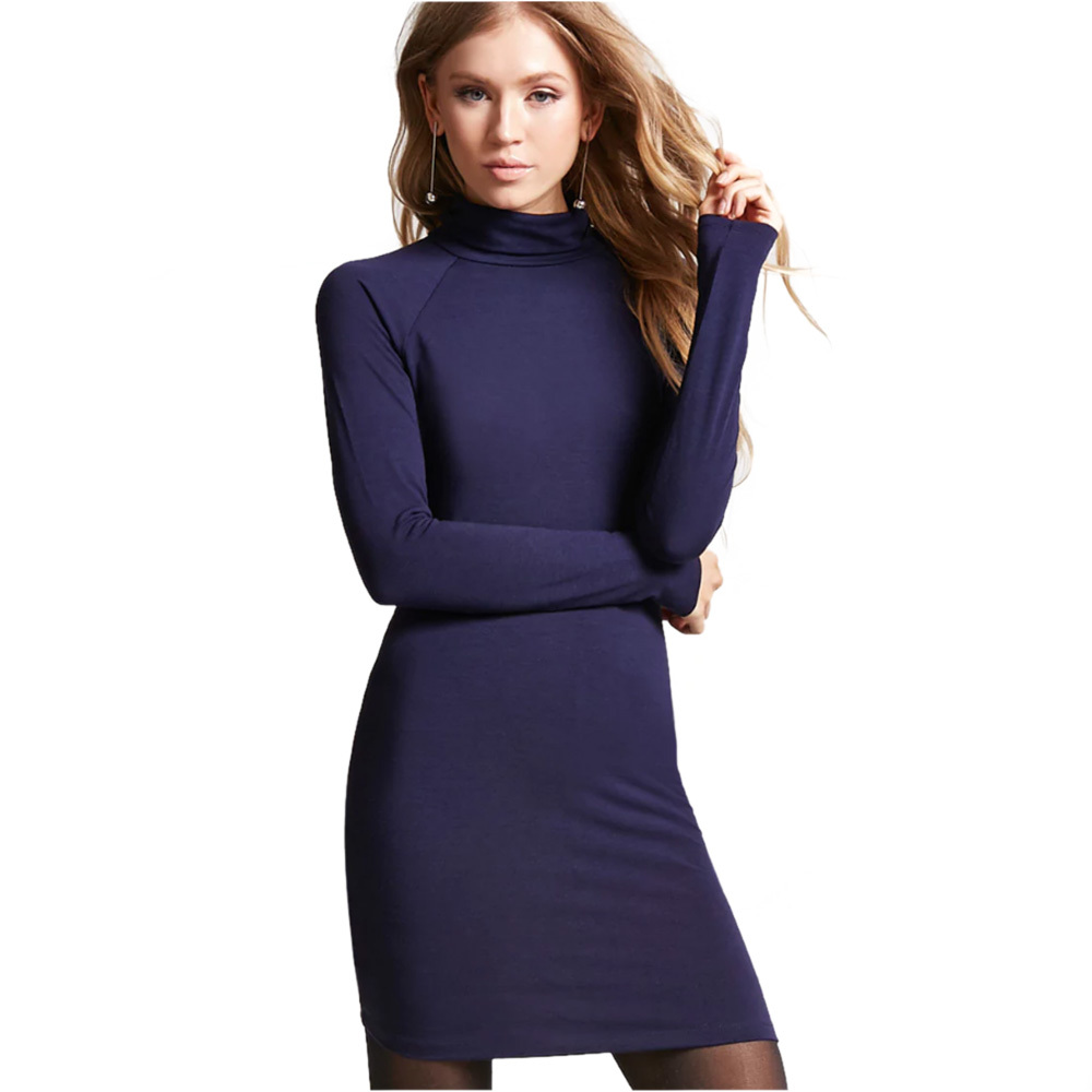 Hot Sping Winter Hight Quality Tight Cotton Dress Women Casual Turtleneck Full Long Sleeve Sexy Bodycon Bandage Pencil Dress