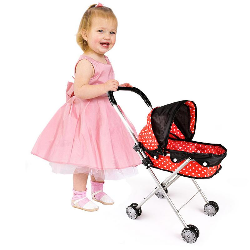 Four Wheels Stroller Precise Baby Doll Stroller Toy Doll Trolley Toy Simulated Stroller For Indoor Outdoor Use For Over 3 Year Old Activating Blood Circulation And Strengthening Sinews And Bones Mother & Kids