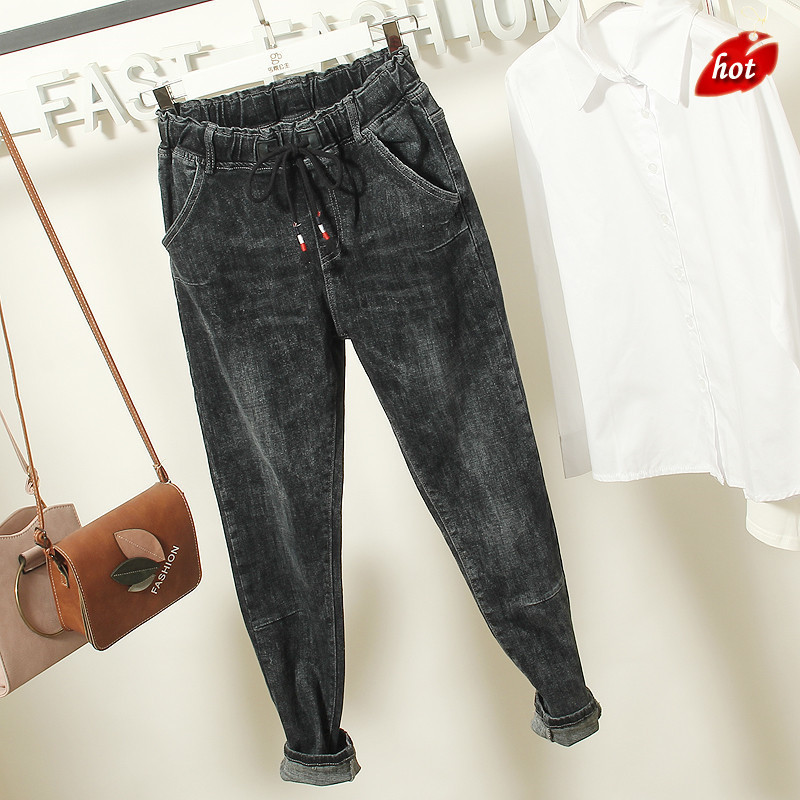 Loose Boyfriend Ankle Denim Jeans Women Casual Autumn High Waist Straight Harem Pants Spring Trousers Plus Size O8R2