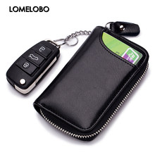 Lomelobo Unisex Split Leather Key Wallet Litchi Pattern Women Multi-Function Coin Purse Men Car Chain Bags Credit ID Card Holder(China)