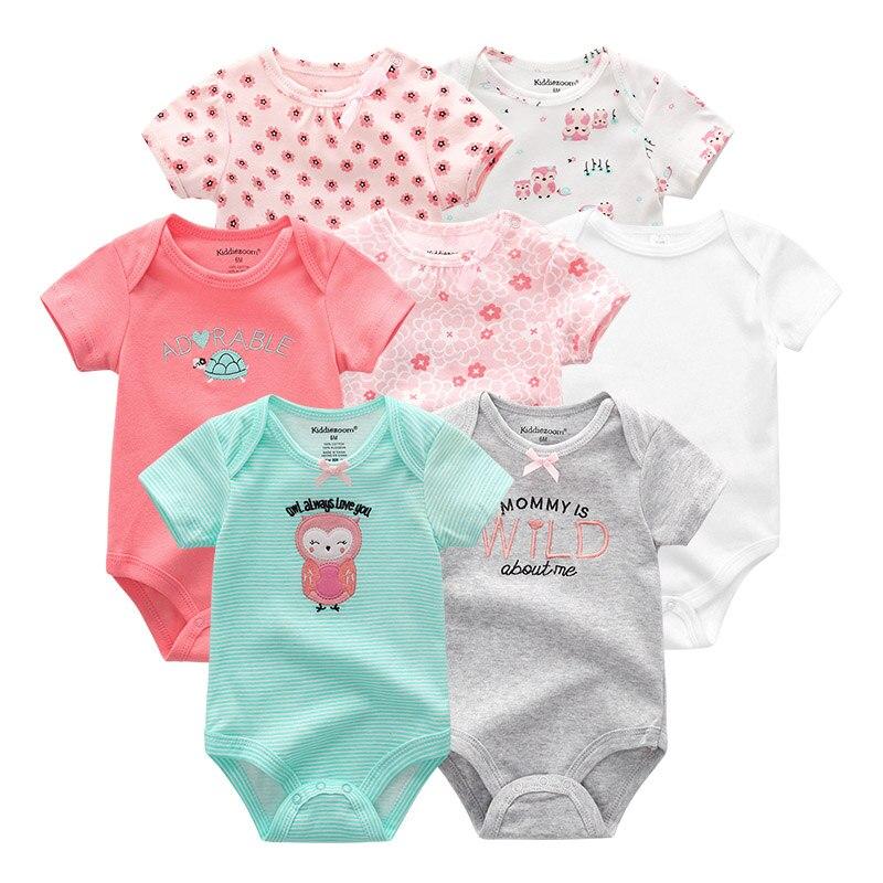Image 5 - 7 шт./лот, 2019, детские комбинезоны, одежда для девочек, одежда для новорожденных, хлопковая одежда для маленьких мальчиков, комбинезоны, Ropa bebe, комбинезон с короткими рукавами для новорожденных 0 12 месяцевРомперы   -