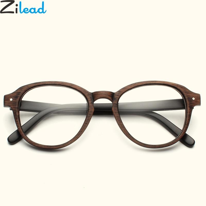 Zilead Round Imitation Wooden Glasses Frame Retro Women&Men Clear Optical Spectacle Eyeglasses Glasses Frame Eyewear Unisex