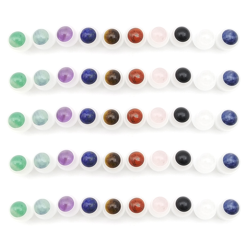 1pcs Natural Gemstone Roller Ball Fit 5ml 10ml Thick Glass Essential Oil Roll On Bottles