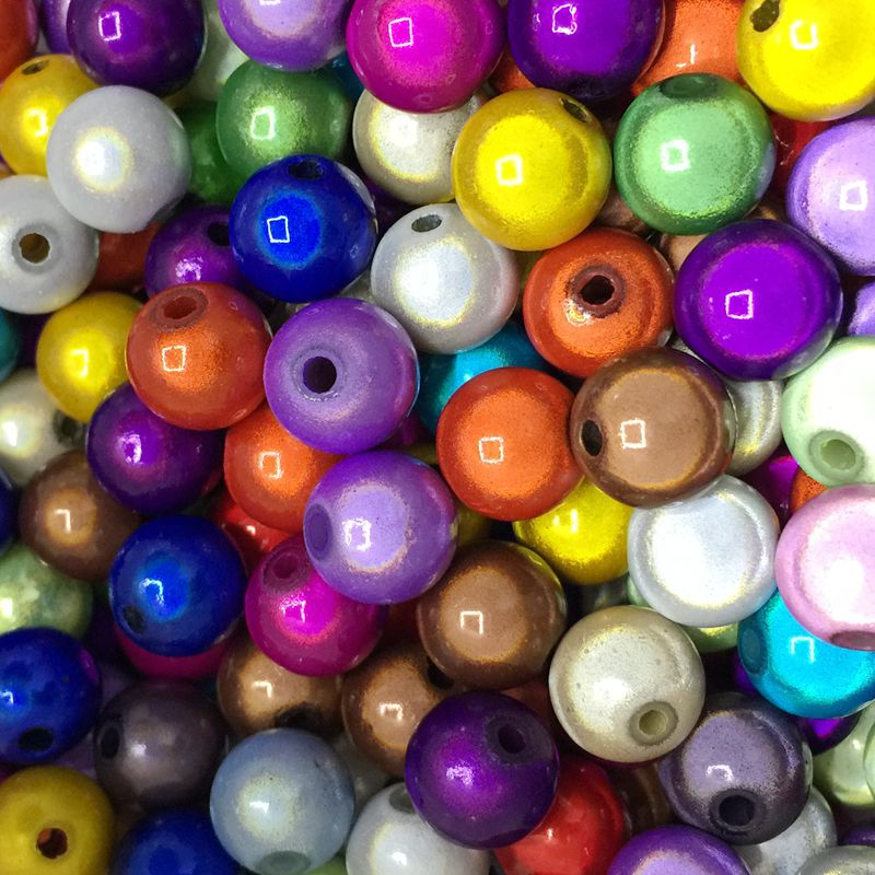 100PCs Mixed Miracle Acrylic Round Spacer Beads 8mm