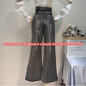 Image 3 - LANMREM 2018 ใหม่แฟชั่น Rhinestone สูงเอวลูกไม้ผ้าฝ้ายหลวมขากว้างกางเกงสีดำกางเกงหญิง YG09101