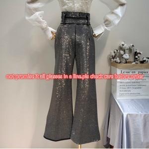 Image 3 - LANMREM 2018 أزياء جديدة من حجر الراين عالية الخصر الدانتيل مرونة القطن فضفاضة واسعة الساق السراويل السوداء سراويل الإناث YG09101