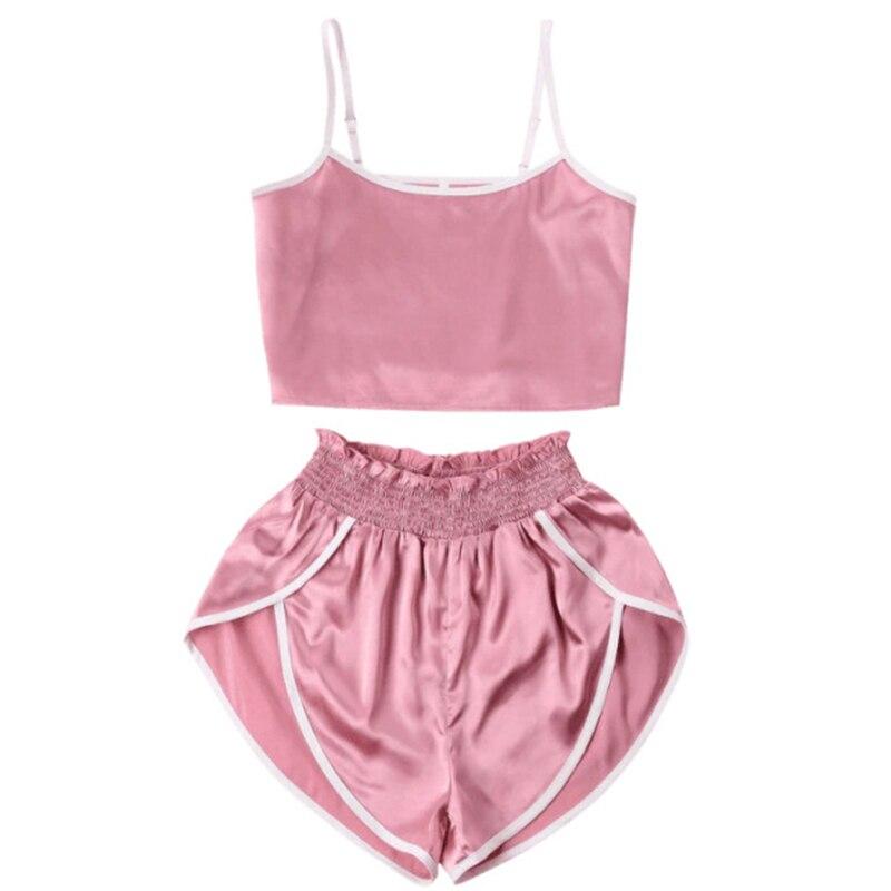 2019   Pajamas     Set   For Women Summer 2 Piece Suits Silk Sexy Lingerie Hot Nightgown Sling Sleepwear Female Pijamas Verano Mujer