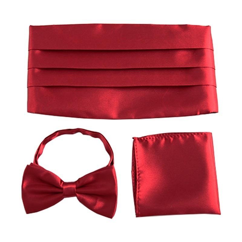 Men's Formal Party Wedding Cummerbund Sets Bow Tie Pocket Square Tuxedo Cummerbunds Belt