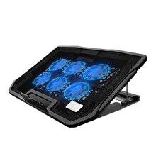 Nuoxi 6-Вентилятор Охлаждающая подставка Тетрадь подставка для ноутбука Портативный Регулируемый Алюминий Настольный вентилируемые охлаждающая подставка держатель складной Ультра для