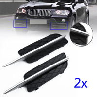 1 Pair 40*9cm Silver and Black ABS Plastic Front Lower Side Bumper Grille Cover for BMW X5 E70 X6 E71 2007 2010 Car styling