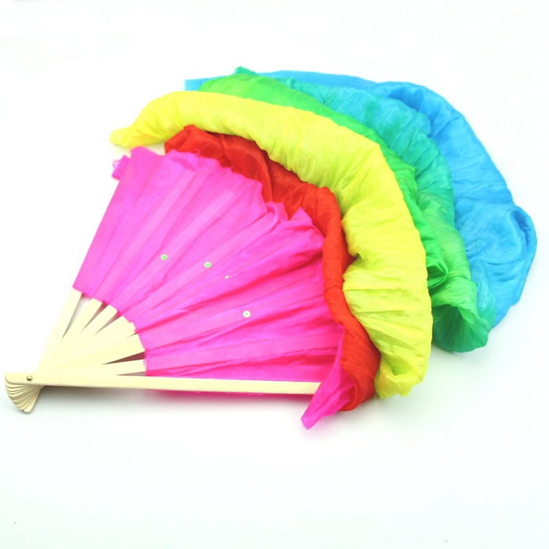 Hand Made Colorful Belly Dance Dancing Silk Bamboo Long Fans Veils For Folk Dance 1.8m