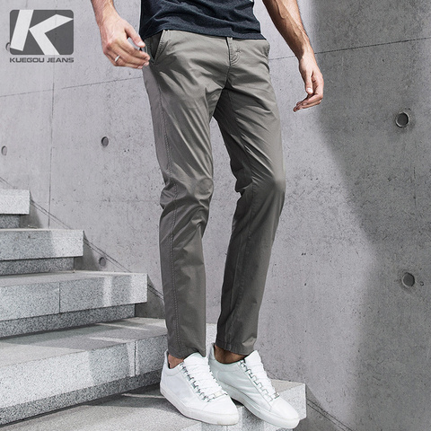 KUEGOU 2019 Summer Cotton Solid Black Gray Men Pants For Trousers Men Fashions Long Male Brand Clothing Casual Pants New 2397 Pakistan