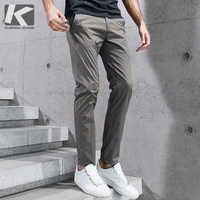 KUEGOU 2019 Summer Cotton Solid Black Gray Men Pants For Trousers Men Fashions Long Male Brand Clothing Casual Pants New 2397
