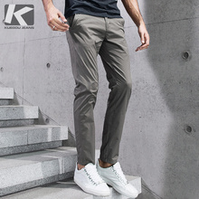 KUEGOU 2019 Summer Cotton Solid Black Gray Men Pants For Trousers Men
