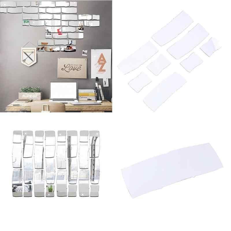 ثلاثية الأبعاد Acrylic بها بنفسك الاكريليك ملصقات للمرايا الكرتون هندسية للإزالة الطوب مقاوم للماء ملصقات جدار مرآة الغرفة المنزل ديكور المنزل