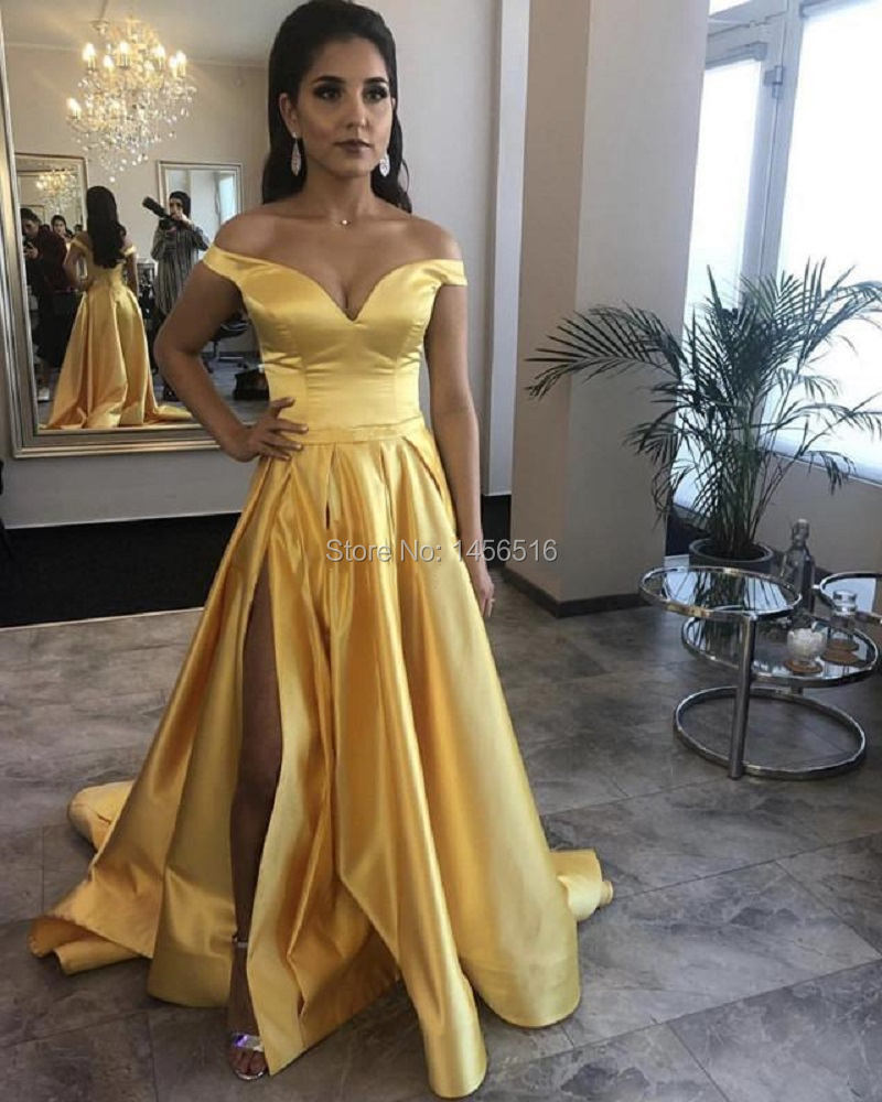 2019 Prom Dresses Side Slit Off the Shoulder Satin Elegant Long Evening Party Gowns A Line Women Formal Dress Robe De Soiree